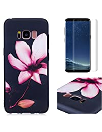 for Samsung Galaxy S8 Case and Screen Protector,OYIME Luxury [Pink Lotus] Relief Pattern Design Black Silicone Rubber Ultra Thin Slim Fit Bumper Drop Protection Anti-Scratch Protective Back Cover