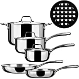 Duxtop SSC-9PC 9 Piece Whole-Clad Tri-Ply Induction Cookware,...