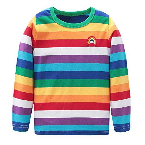 Chucky's Bride Halloween Makeup (HowJoJo Big Boys Cotton Long Sleeve T-Shirts Rainbow Striped Shirts)