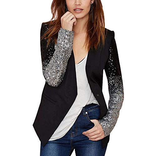 - VERO VIVA Women Sequin PU Faux Leather Contrast Color Block Business Blazer Coat (XXXX-Large, Black)