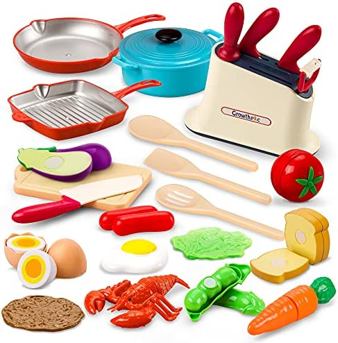 Amazon Com Growthpic Cookware Play Kitchen Accessories For Kids Toy Pots And Pans With Cooking Utensils Kitchen Set Cutting Play Food Toys For Toddler Kids Boys Girls Toys Games