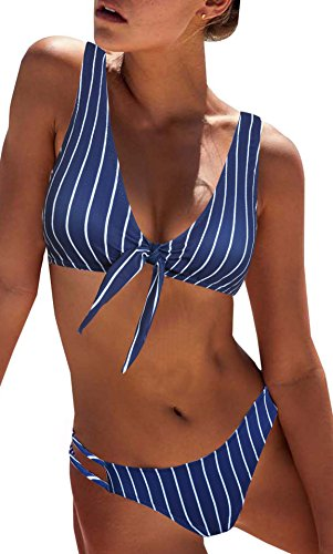 BMJL Women's Sexy Detachable Padded Cutout Push Up Striped Bikini Set Bow Tie Two Piece Swimsuit(XS,Royal Blue)