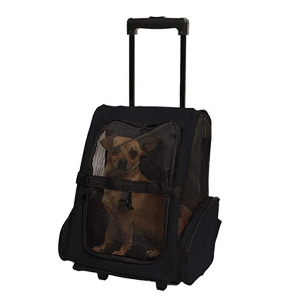 RIRUI Mochila para Mascotas, Bolsa De Trolley, Polea, Gato Y Perro Fuera De La Bolsa De Remolque, Transpirable, Mascotas De 7 Kg,Black,M: Amazon.es: Hogar
