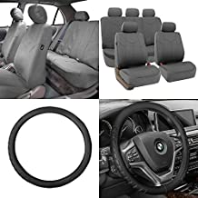 FH GROUP FH-PU009115 Rome PU Leather Seat Covers Solid Gray (Airbag compatible and Split Bench) W. FH2006 Microfiber Embossed Leather Black Steering Wheel Cover- Fit Most Car, Truck, Suv, or Van