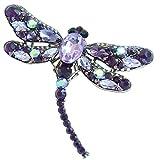 Sindary Elegant 3.74'' Gold-Tone Purple Rhinestone Crystal Dragonfly Brooch Pin Pendant BZ5684