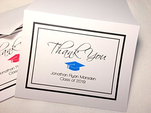 Personalized Graduation Thank You Note Cards with Envelopes. Choose Your School Color! Custom Printed. Choose Sets of 50 or 20. Blank Inside. High Quality, White Folding Cards. ()