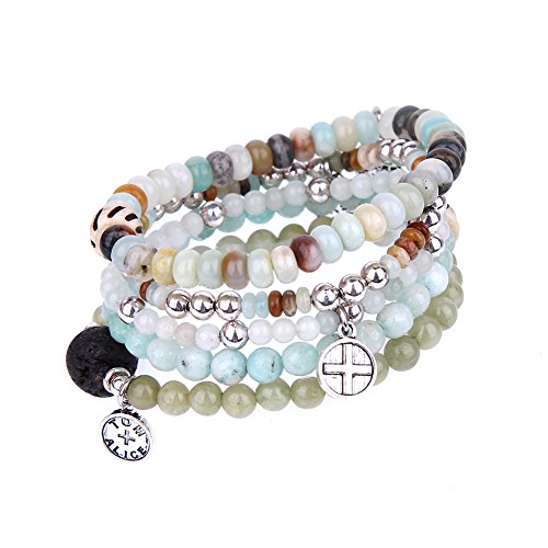 tom+alice Beaded Bracelets for Women Stackable Handcut Natural Stones 5 pcs Ermish Stretch Set ()