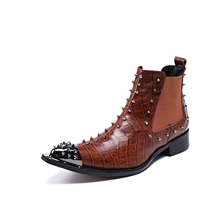 best value amazing price 50% off Hmboots Mens Chelsea Boots Leather Shoes Western Cowboy Ankle ...