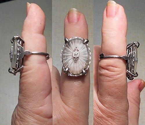 Large Camphor Glass Ring Stunning Baguette Rhinestone Edwardian Filigree Raised Basket Camphor Glass Ring Starburst w Star Rhinestone Sz 6