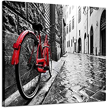 Artistic Path Cityscape Artwork Wall Decor: Bicycle Photographic Prints- Retro Vintage Red Bike in Black and White on Wrapped Canvas for Home Decoration