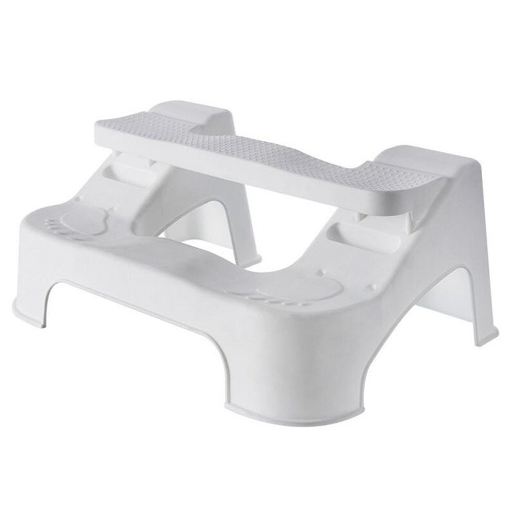 Bathroom Toilet Step Stool, Homeself 7-9 Inch Height-adjustable Toilet Assistance Training Squatting Steps Stool, Anti-slip Anti-constipation artifact, for Adults Kids Toddlers Potty (White)