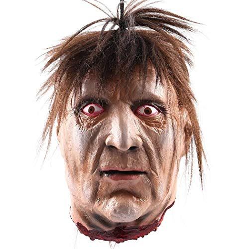 MONEIL Halloween Props Scary Hanging Severed Head Decorations,Life-Size Bloody Cut Off Corpse Head Ghost Animated Zombie Head for Haunted Houses Party Decor Funny Festive Supplies (Horror Head