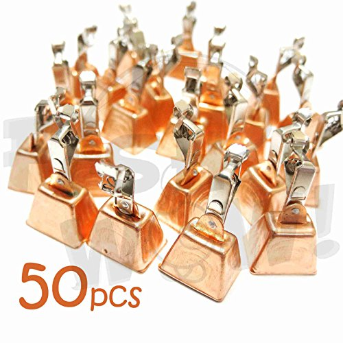50pcs Fish WOW! Fishing Copper Bell Alert with Eagle Clamp Clips Baits Alarm Bells by Fish WOW!