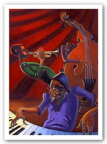 Jazz Trio Justin BUA art print POSTER urban NYC RARE
