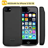 Battery Case for iPhone 5/5c/5s/5se, Mbuynow 4000mAH Portable Charging Case External Rechargeable Charger Case Protective Power Case for iPhone 5/5c/5s/5se (Black)