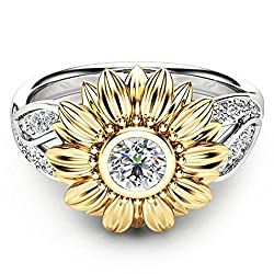 Hemlock Women Girls Lovers Rings Valentine's Rings Diamond Sunflower Crystal Rings (9, Silver)