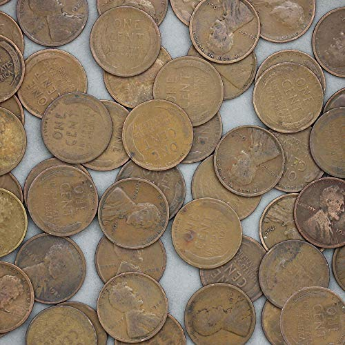 1920 Lincoln Wheat Cent 50 Coin Roll Average Circulated Pennies