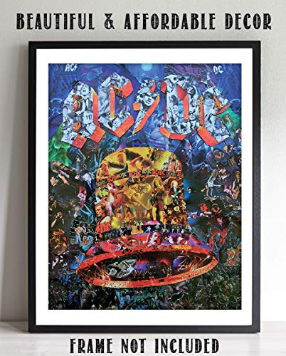 """AC DC-""""BELL"""" Music Poster Print- Collage Picture Collection- 8 x 10 Wall Print- Ready To Frame- Famous Rock Band Pictures Poster. Home-Studio-Bar-Dorm-Man Cave Decor. Perfect Gift For All AC/DC Fans."""
