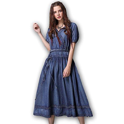 (ジズル)ZIZZLE レディース デニム ワンピース ブルー ひざ丈 5分袖 ボヘミアン ファッション 向け
