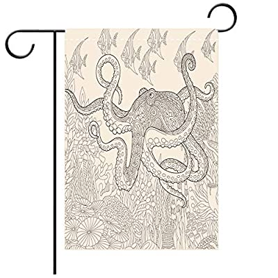 BEICICI Artistically Designed Yard Flags, Double Sided Stylized Octopus and Tropical Fish Best for Party Yard and Home Outdoor Decor