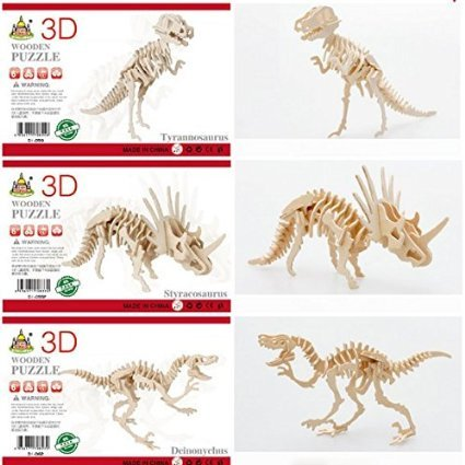 A Little Lemon 3D Wooden Simulation Animal Dinosaur Assembly Puzzle Model Toy for Kids and Adults,3-piece Set (Simulation Animal)