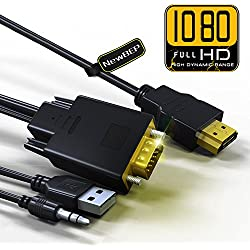 HDMI to VGA Cable Adapter with Audio Cord and USB, NewBEP 1080P HD 6ft/1.8m HDMI Male to VGA Male Converter Cord Support Apple Mackbook Sony PS2 PS3 PS4 Xbox Notebook PC DVD Player Laptop TV Etc