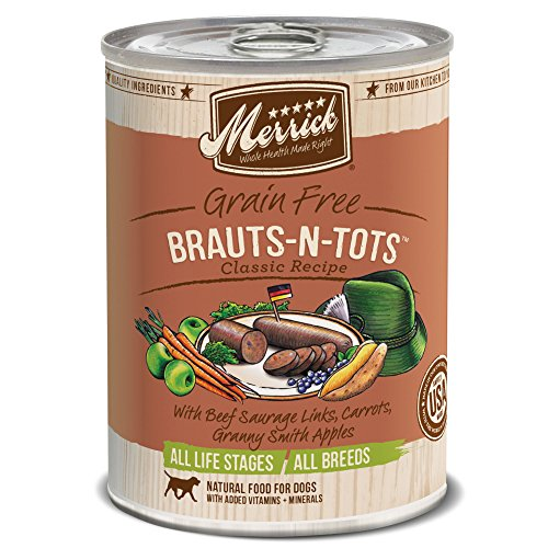Merrick Classic Grain Free Brauts-N-Tots Wet Dog Food, 13.2 oz, Case of 12 Cans