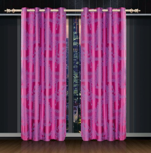 Dolce Mela DMC461 Jacquard Damask Drapery Window Treatments with Grommet Curtain Panel, (Damask Drapery)