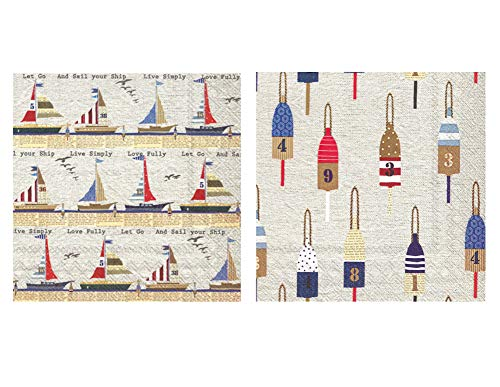 - Nautical Theme Beverage Napkins: Bundle Includes 40 Cocktail Beverage Napkins in 2 Different Ahoy Nautical Designs