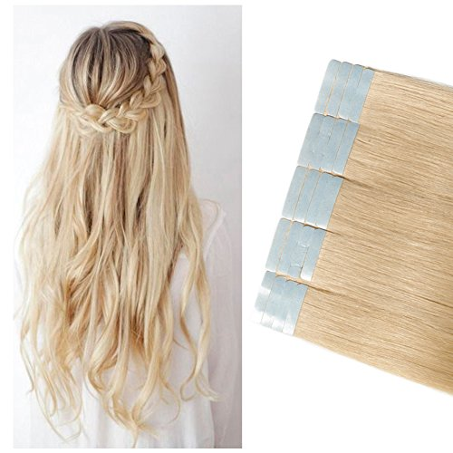 Tape in Hair Extensions 100g 40 Pieces 100% Remy Human Hair Double Side Tape Seamless Skin Weft Rooted Natural Hair Extensions Long Straight Silky (18 inch 40pcs,#613 Bleach Blonde)