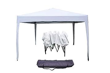 Gazebo Con Sacca.Boudech Gazebo Richiudibile 3x3 Pieghevole A Fisarmonica Automatico Mercato Tenda Con Sacca Colore Bianco Gazecobianco