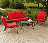 Mainstays Stanton Cushioned 4-Piece Patio Conversation Set, Seats 4 (Red)