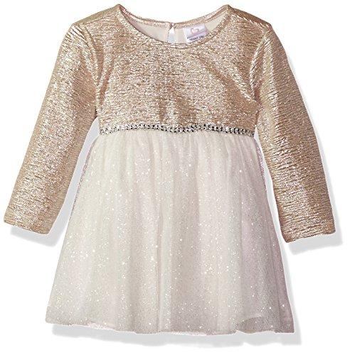 Youngland Baby Girls Sparkle Texture Knit Ballerina Dress, Ivory/Gold, (Ballerina Wedding Dresses)