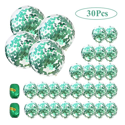 (AULE Party Balloons Pack of 30-36 Inch Confetti Balloons & 12 Inch Confetti Balloons and 64ft Ribbons - Large Green Confetti Balloon Decoration)