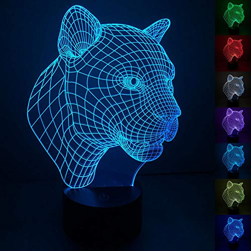 (Abstractive 3D Optical Illusion Night Light Leopard 7 Color Change Touch Switch USB Powered LED Decoration Desk Lamp for Holiday Birthday Cool Gift)