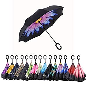 AWEOODS Inverted Umbrella Windproof Reverse Folding Double Layer Travel Umbrella with C Shape Handle, Coloured Glaze
