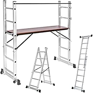 TecTake 3 Way combination ladder scaffold aluminium multi