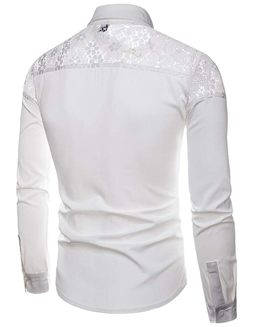 YYear Mens Autumn Button Down Lapel Plain Loose Lace Stitching Shirts