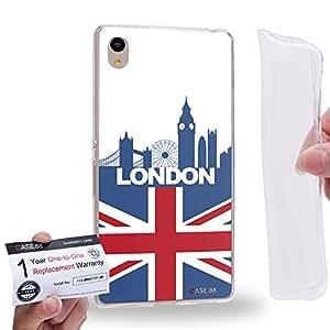 Case88 [Sony Xperia Z3+ / Z4] Gel TPU Carcasa/Funda & Tarjeta de garantía - Art Design Drawing London Flag Skyline 2628