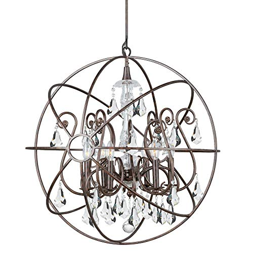 Crystorama 9028-EB-CL-MWP Crystal Accents Six Light Chandeliers from Solaris collection in Bronze/Darkfinish,