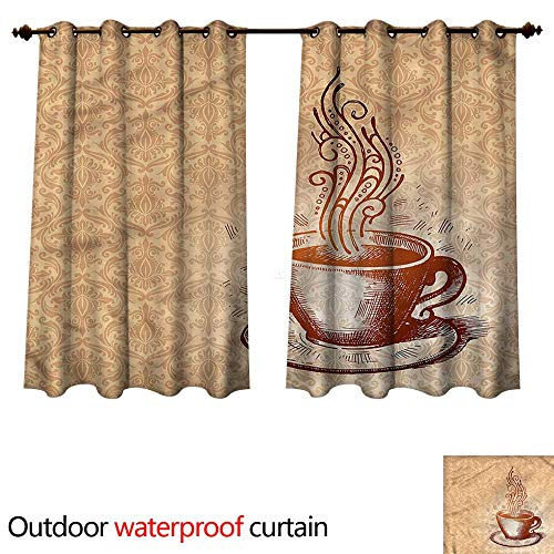 (cobeDecor Coffee Outdoor Ultraviolet Protective Curtains Cup with Saucer Pattern Art W55 x L72(140cm x 183cm))