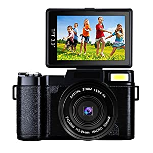 Digital Camera Vlogging Camera 24MP Camcorder Full HD 1080p Camera Flip Screen 180 Degree Rotation (B1)