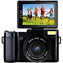 Digital Camera Vlogging Camera 24MP Camcorder Full HD 1080p Camera Flip Screen 180 Degree Rotation (A1)