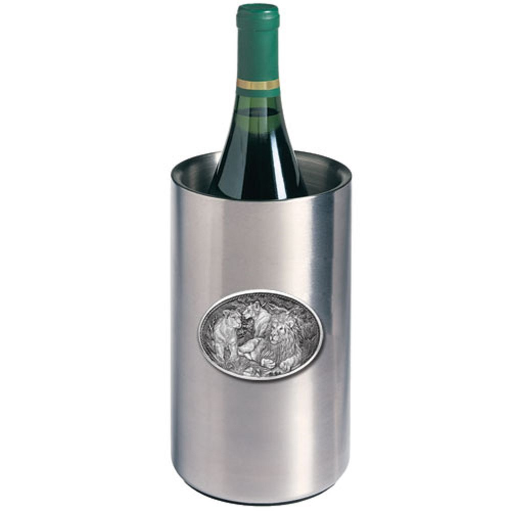 ANIMAL LION WINE CHILLER, This is a wine chiller made of double-wall insulated stainless steel with a fine pewter logo medallion bonded to the front.