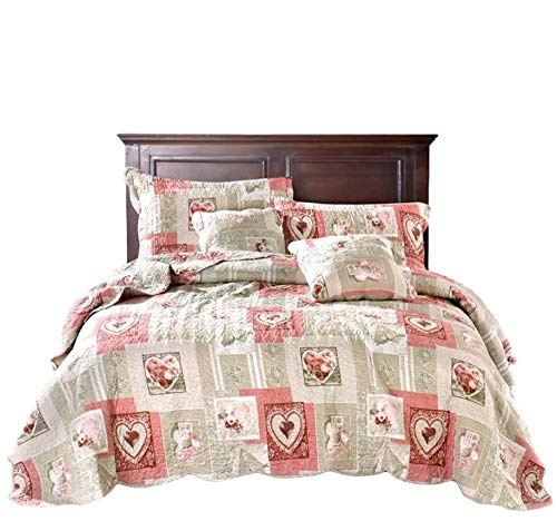 Tache Home Fashion Dainty Sweetheart Cottage Patchwork Quilted Coverlet Bedspread Set - Bright Vibrant Scalloped Multi Colorful White Red Pink Floral Print - Full - 3-Pieces