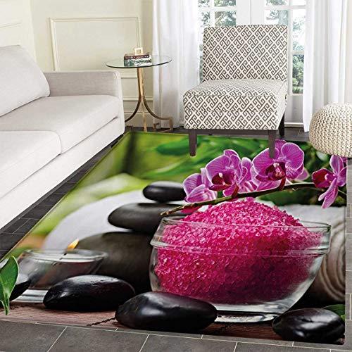 Spa Door Mat Rug Black Zen Stone Triplets Asian Originated Orchids Fuchsia Salt Bath Mat 3D Digital Printing Mat 24