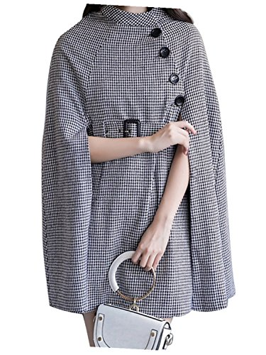 Black Houndstooth Belted Waist Cape Coat with Side Pockets S by Clothink (Image #6)