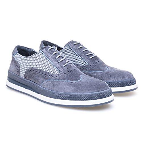 Greyder Modischer Schnürschuh im Materialmix Herren Schnürschuh Schnürung Casualmode Schnürung Unifarben mit Farbeinsätzen Leder Gepolstert Grey