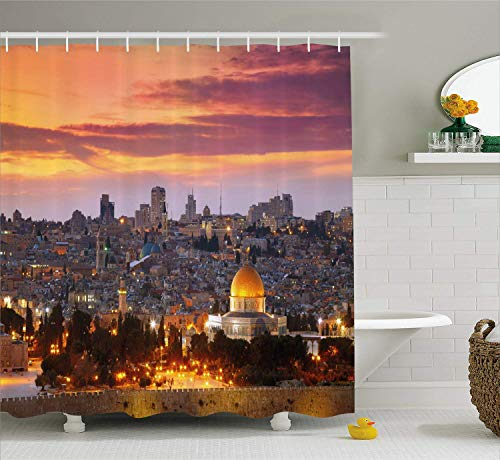 Nyngei Landscape Shower Curtain Ancient Old City of Jerusalem Historical Town Center Israel Twilight View Cloth Fabric Bathroom Decor Set with Hooks 70.8x70.8in Extra Long Salmon Yellow