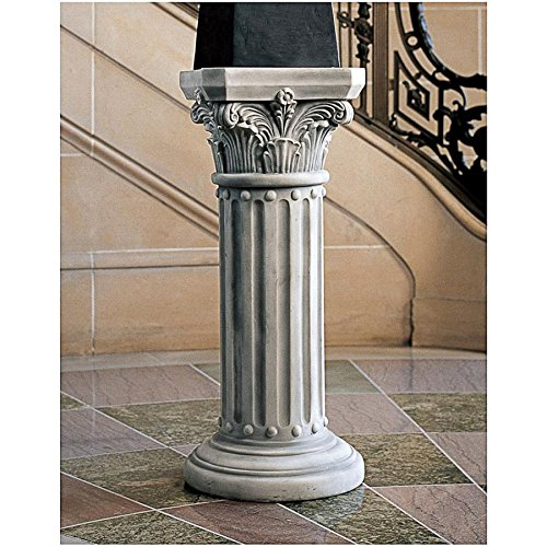 Design Toscano Athena Corinthian Furniture Pedestal Column Plant Stand, 33 Inch, Polyresin, Antique ()